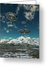 Ufos Flying Over A Mountain Range Greeting Card