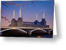Uk, England, View Of Battersea Power Greeting Card