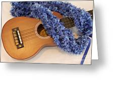 Ukulele And Blue Ribbon Lei Greeting Card
