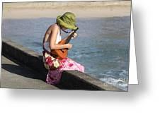 Ukulele Lady At Hanalei Bay Greeting Card