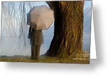 Umbrella And Tree Greeting Card
