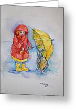 Umbrella Girl With A Kitty Greeting Card