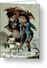 Umbrella In The Snow, Victorian Postcard Greeting Card