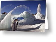 Umbrella Man At Frozen Fountain Greeting Card