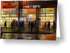 Umbrella Parade - New York In The Rain Greeting Card