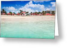 Umbrellas And Chairs On Grace Bay Beach Greeting Card