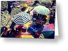 Umbrellas At The Beach Greeting Card by H Hoffman