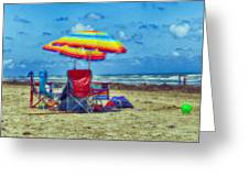 Umbrellas At The Beach Greeting Card