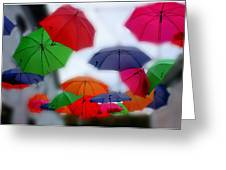 Umbrellas In The Mist Greeting Card