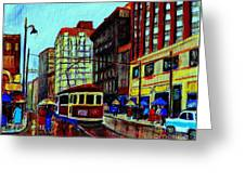 Umbrellas In The Rain Couples Stroll St.catherine Street Downtown Montreal Vintage  City Scene  Greeting Card