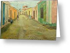 una calle en Trinidad  Greeting Card