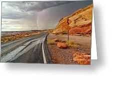 Uncertainty - Lightning Striking During A Storm In The Valley Of Fire State Park In Nevada. Greeting Card