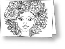 Uncolored Girlish Face For Adult Greeting Card