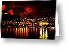 Corinth Under A Milti Moon Sky Greeting Card