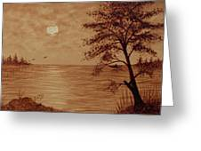 Under Moonlight Original Coffee Painting Greeting Card
