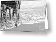 Under The Boardwalk Black And White Greeting Card