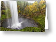 Under The Falls With Autumn Colors In Oregon Greeting Card