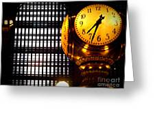 Under The Famous Clock Greeting Card