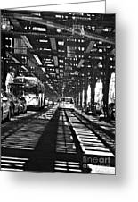 Under The One Train In The Bronx Greeting Card