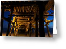 Under The Pier At Night Greeting Card