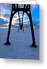Under The Pier In St. Joseph At Sunset Greeting Card