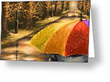 Under The Rain Greeting Card