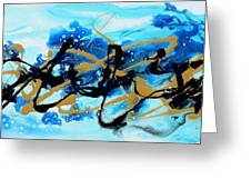 Under The Sea Original Abstract Blue Gold Painting By Madart Greeting Card