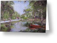 Under The Willows In The Crystal Bridges Pond Greeting Card