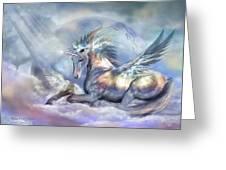 Unicorn Of Peace Greeting Card by Carol Cavalaris
