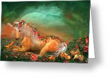 Unicorn Of The Roses Greeting Card by Carol Cavalaris