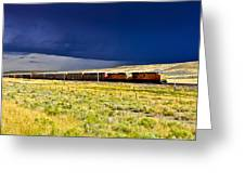 Union Pacific Racing A Thunder Storm Greeting Card