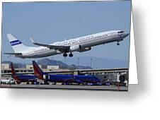 United Boeing 737-924 N75436 Continental Retro Taking Off Phoenix Sky Harbor March 6 2015 Greeting Card