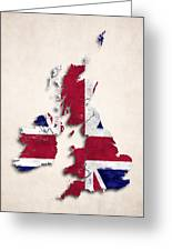 United Kingdom Map Art With Flag Design Greeting Card