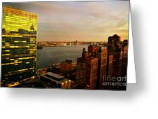 United Nations Building At Nightfall With Chrysler Building Reflection - Landmark Buildings  Greeting Card