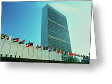 United Nations Building With Flags Greeting Card