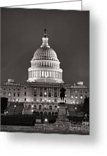 United States Capitol At Night Greeting Card