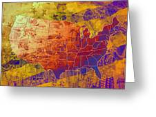 United States Flag Map Vintage 2 Greeting Card