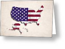 United States Map Art With Flag Design Greeting Card