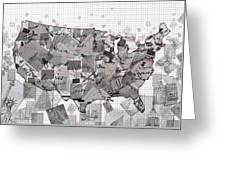 United States Map Collage 3 Greeting Card