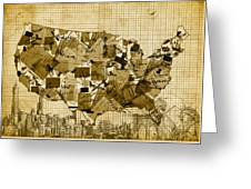 United States Map Collage 4 Greeting Card