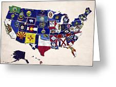 United States Map With Fifty States Greeting Card