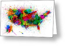 United States Paint Splashes Map Greeting Card