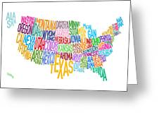 United States Text Map Greeting Card