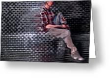Universe Man Ties His Shoes Greeting Card