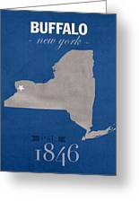 University At Buffalo New York Bulls College Town State Map Poster Series No 022 Greeting Card