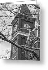 University Hall Tower Black And White  Greeting Card