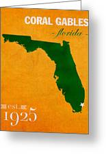University Of Miami Hurricanes Coral Gables College Town Florida State Map Poster Series No 002 Greeting Card