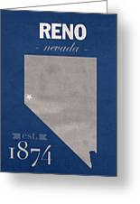 University Of Nevada Reno Wolfpack College Town State Map Poster Series No 072 Greeting Card