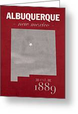 University Of New Mexico Albuquerque Lobos College Town State Map Poster Series No 074 Greeting Card