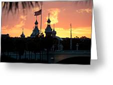 University Of Tampa Minerets At Sunset Greeting Card